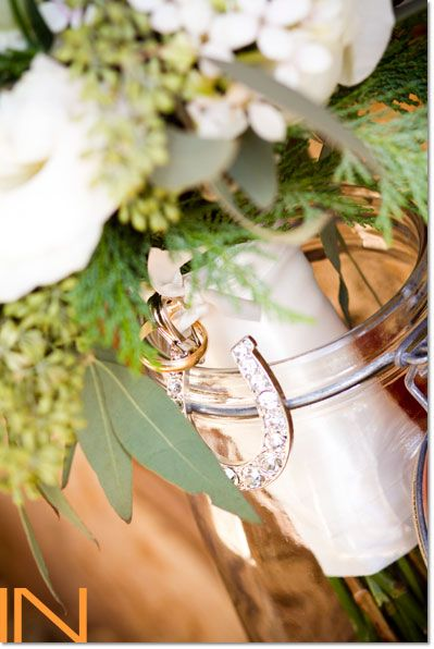 White Bouquet With Horseshoe Pendant Beaver Creek Wedding