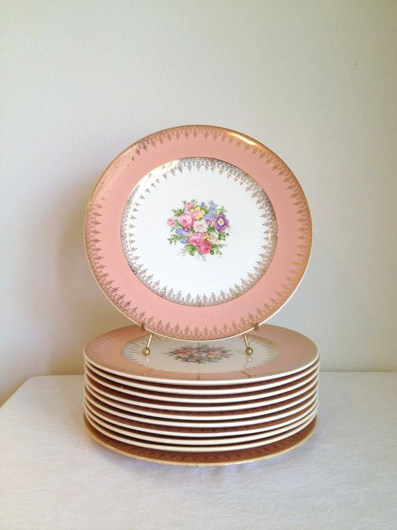 Vintage French Saxon China Pink and Gold by TheLittleThingsVin $125.00 1940\u0027s & Vintage French Saxon China Pink Gold Filigree Dinner Plates Luncheon ...