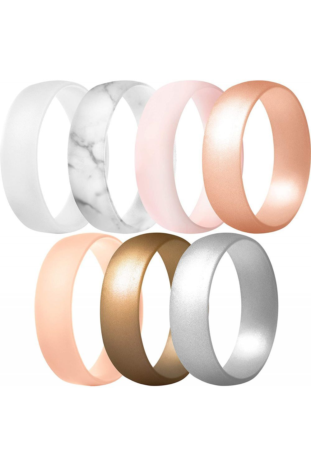 ThunderFit Silicone Rings 1 Ring Wedding Bands for Men /& Women 6mm Wide 1.65mm Thick 7 Rings