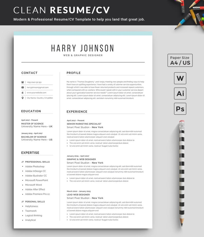 Resume Template Modern Professional Resume Template For Etsy In 2020 Cover Letter For Resume Resume Template Professional Resume Template Word