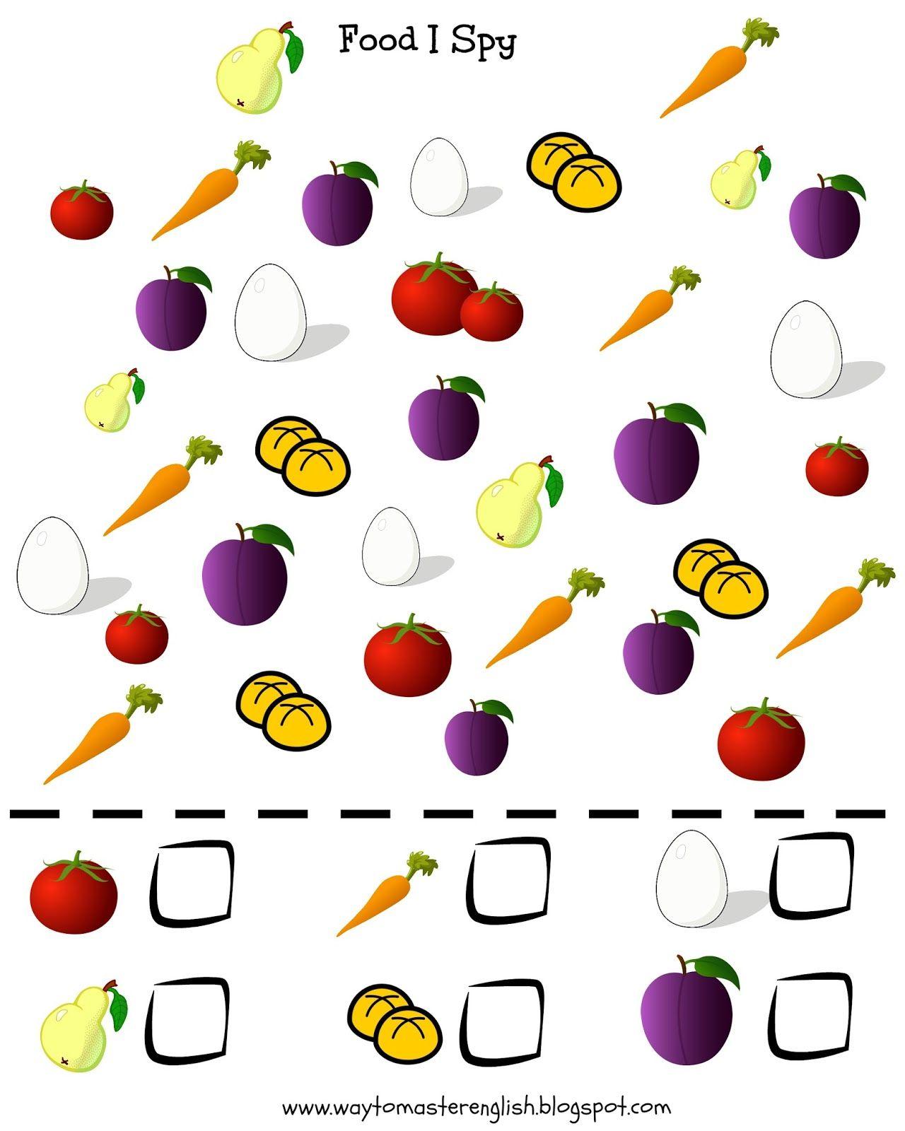 Funglish I spy, vocabulary, kids, young learners, food, fruit ...