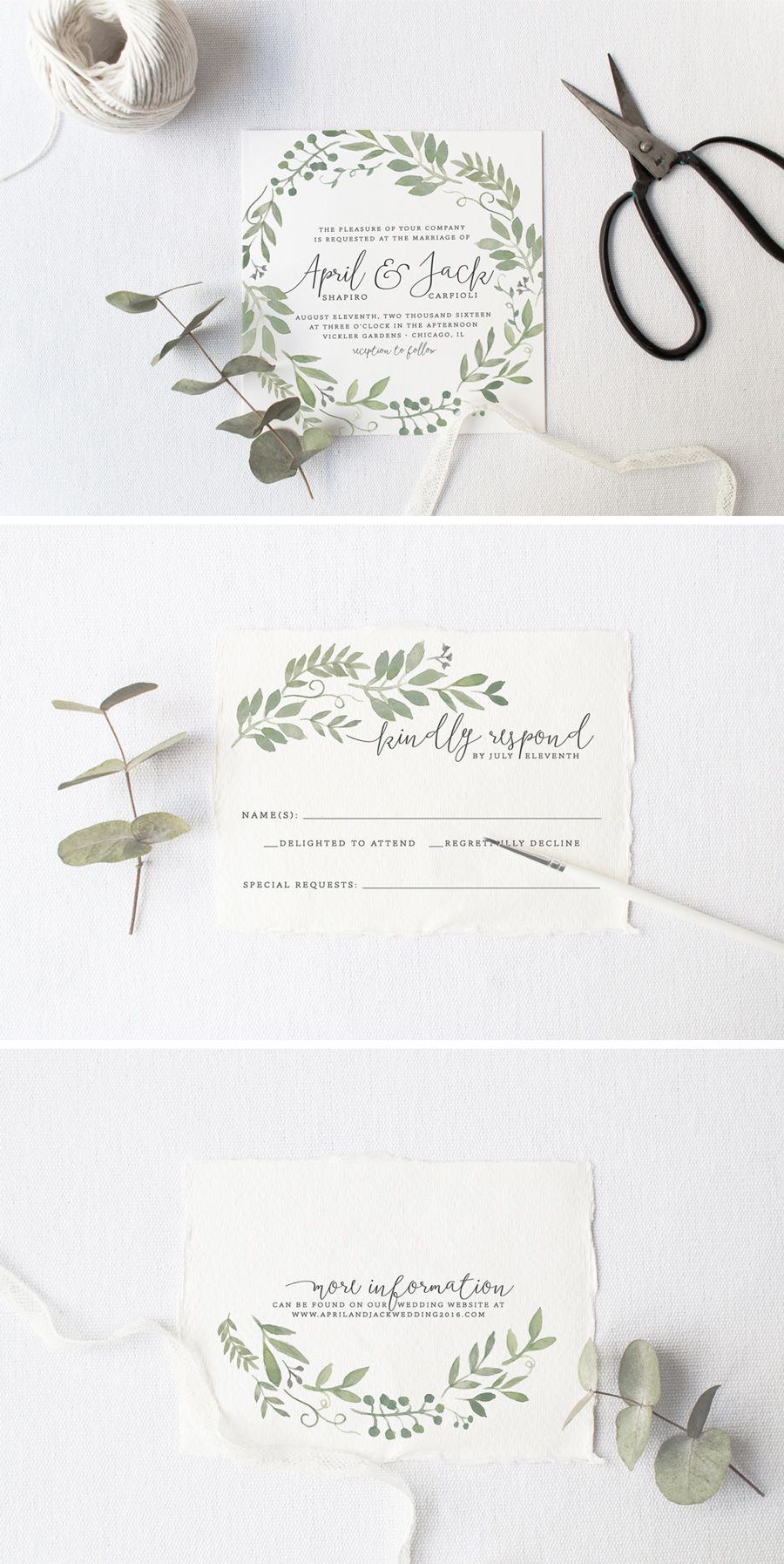 Garden Foliage Wedding Invitation Suite - DIY, Rustic, Woodland ...