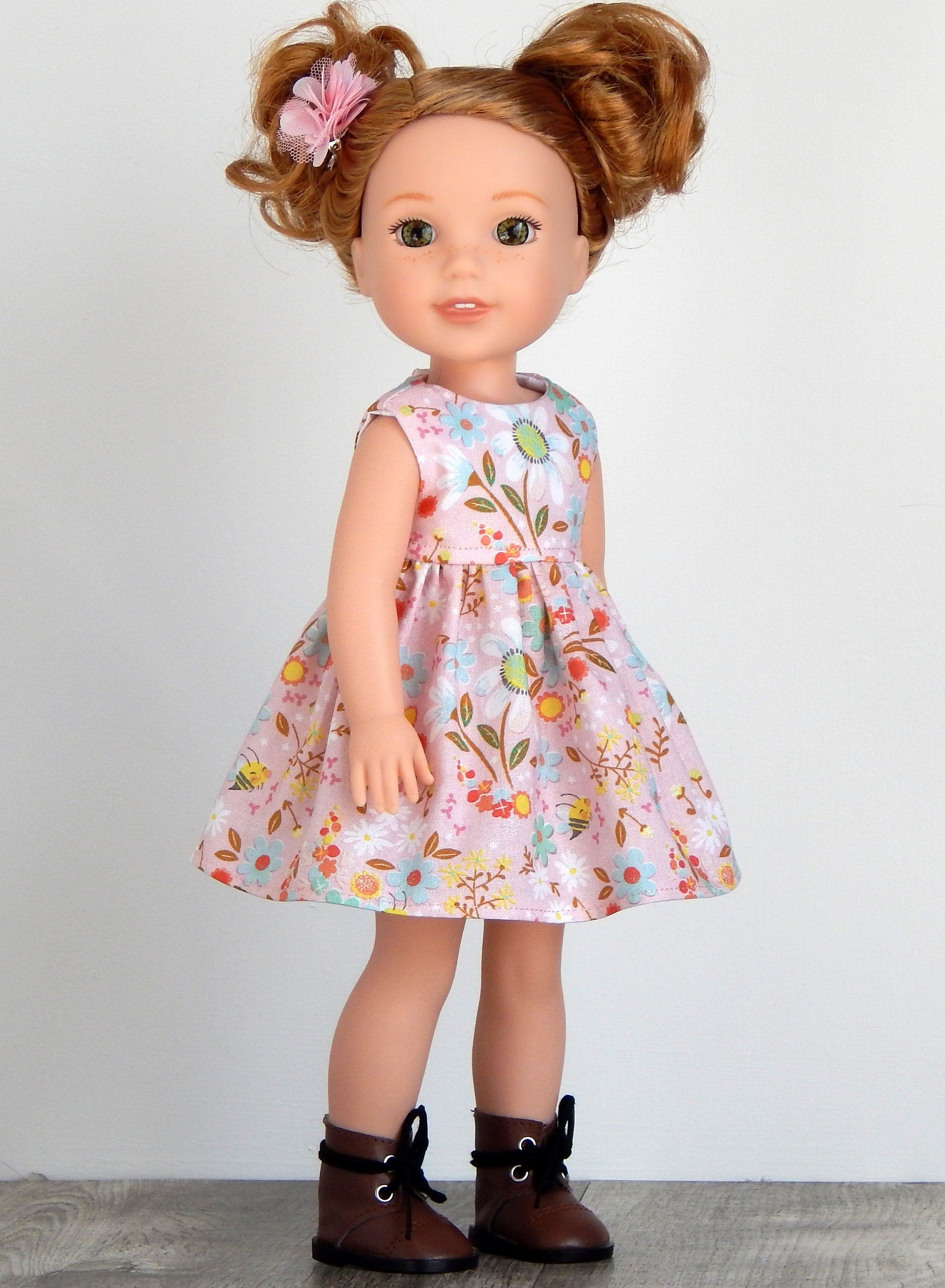 """Brown Flower Dress Shoes Fits Wellie Wishers 14.5/"""" American Girl Clothes Shoes"""