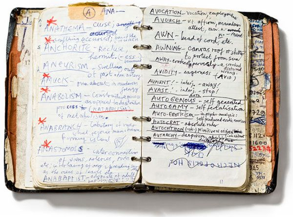 Nick Cave's handwritten dictionary of words