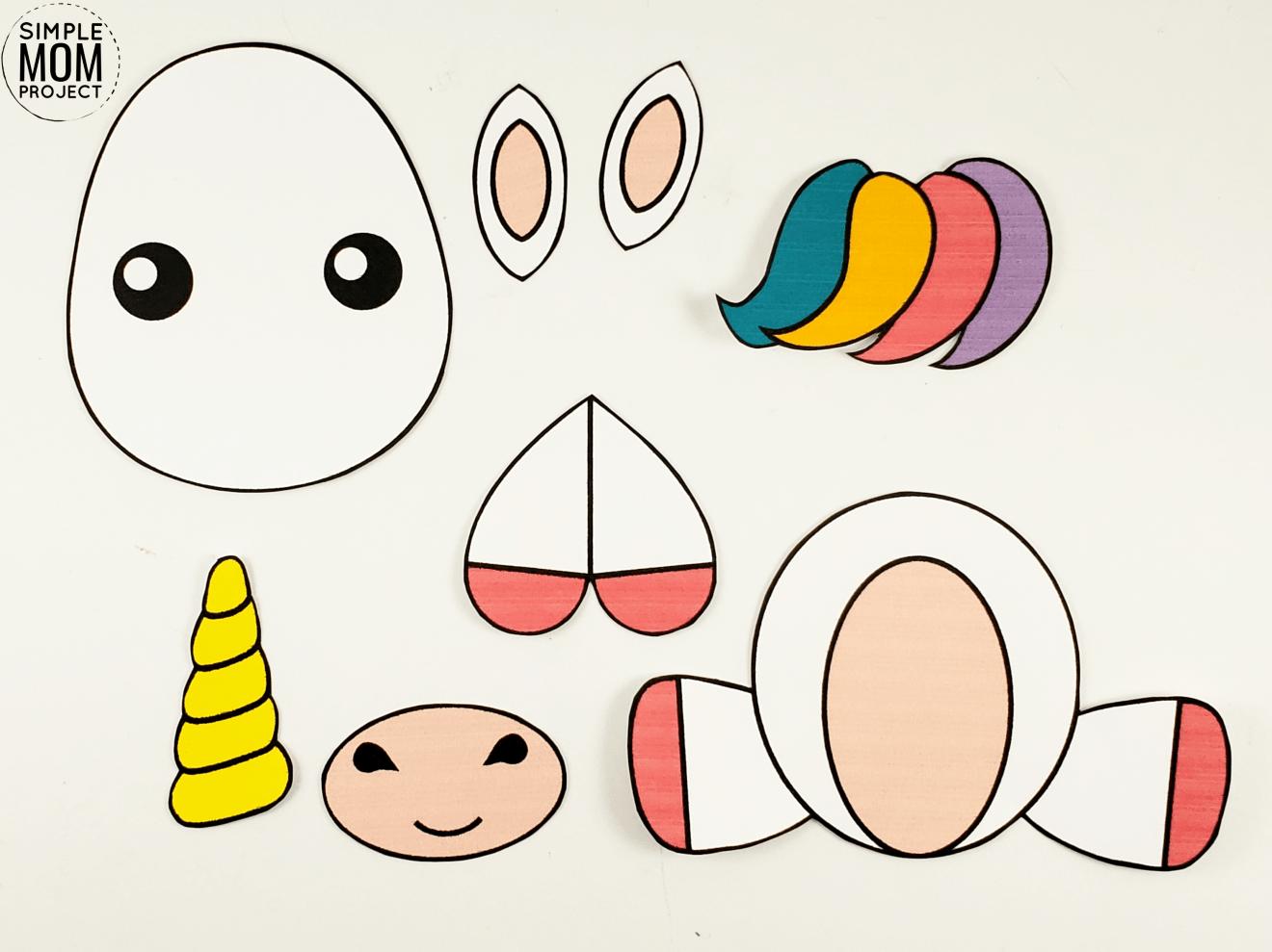Free Printable Unicorn Craft for Kids - Simple Mom Project #unicorncrafts