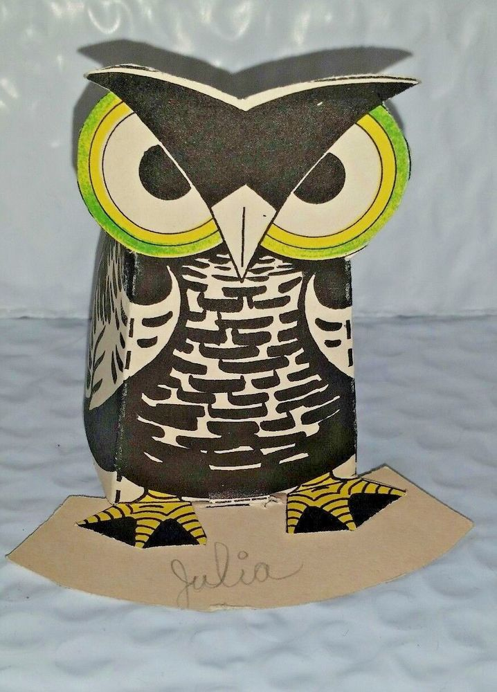 Early Halloween Folded Candy Holder OWL Used