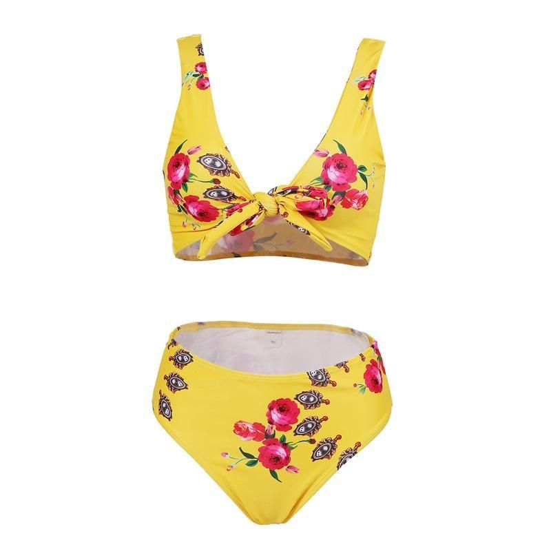Beach Lost In Flowers Tie Floral Print Bikini Set