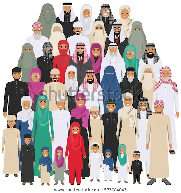 Family Social Concept Arab Person Generations Stock Vector Royalty Free 573984043 Muslim People People Illustration People Icon