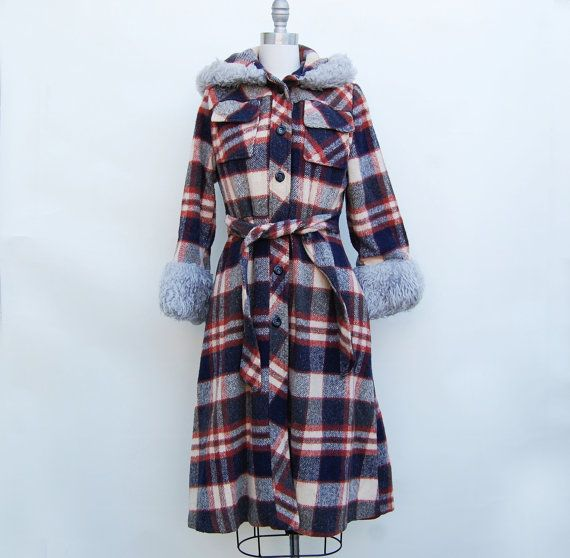 70s plaid faux fur lined hood long coat sm by DaisyBrowneVintage, $70.00