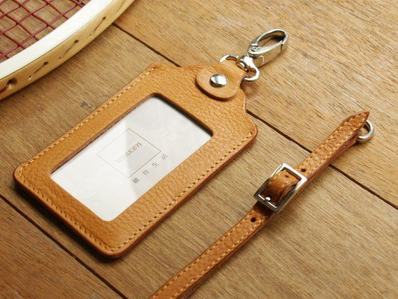 Leather ID holder with lanyard Leather ID card holders | Etsy