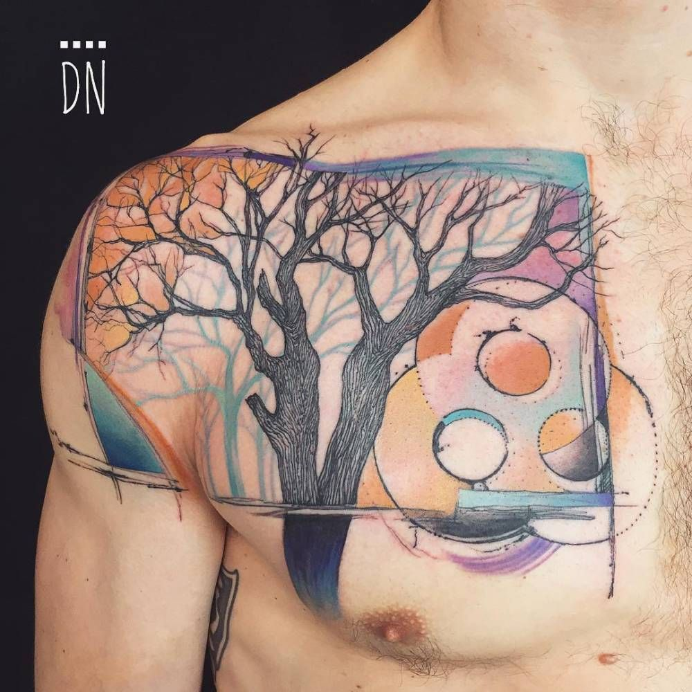 Graphic Tree Tattoo On The Right Side Of The Chest And Shoulder Tattoo Artist Dino Nemec Tree Tattoo Chest Tree Tattoo Tree Tattoo Designs