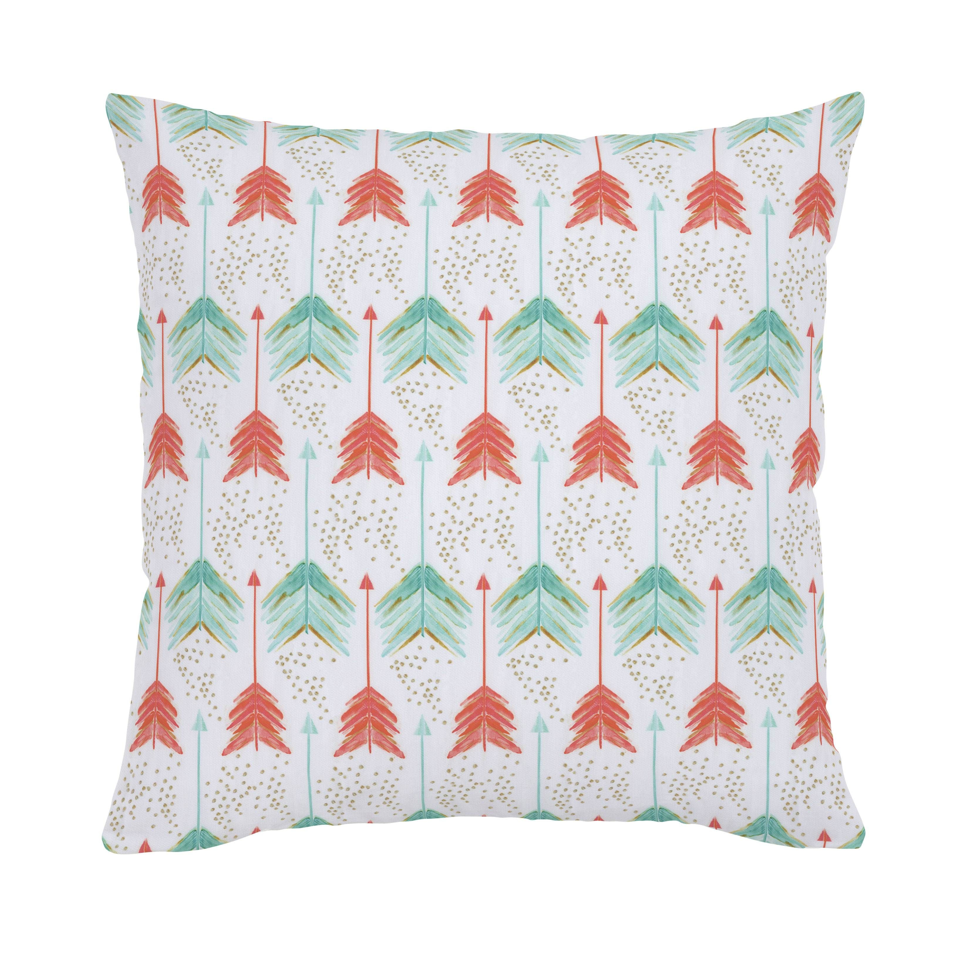 Coral And Teal Arrows Throw Pillow In 2019 Bedding Coral