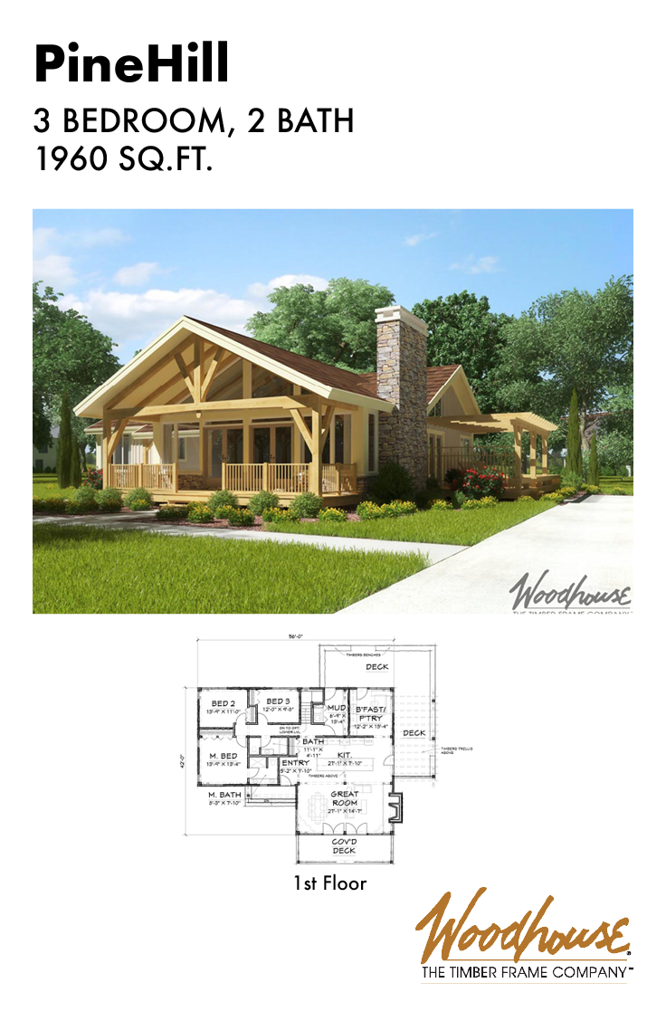 This Adorable Timber Frame Ranch Home Would Make A Great Retirement Home Single Floor Living Is Becom Timber Frame Home Plans House Floor Plans Cottage Design