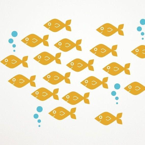 Baby Fish Wall Decals, Ocean Nursery Theme Kids Sea Life Underwater ...