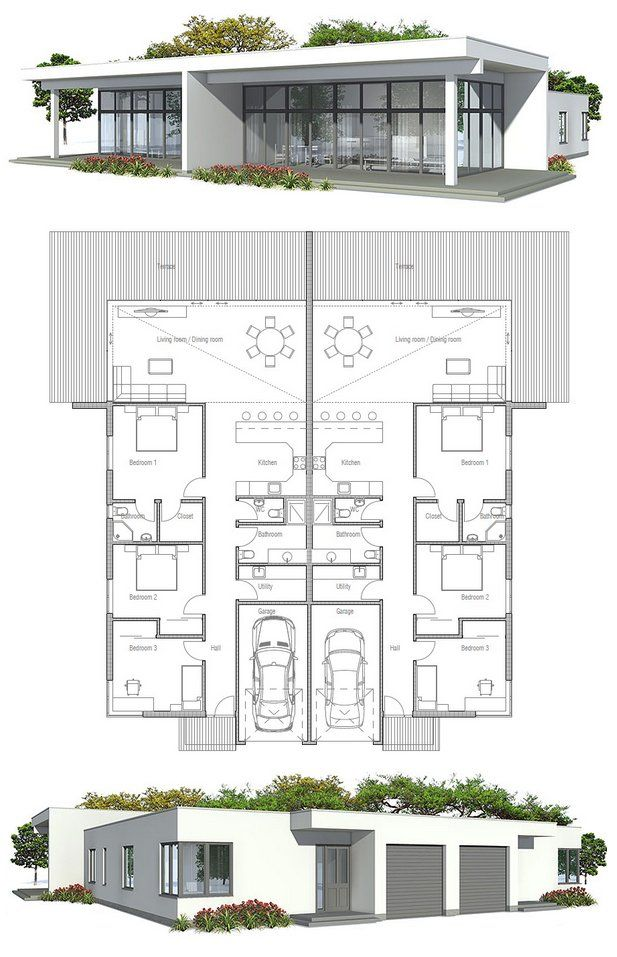 Duplex house plan to narrow lot possible income i future for Narrow duplex plans