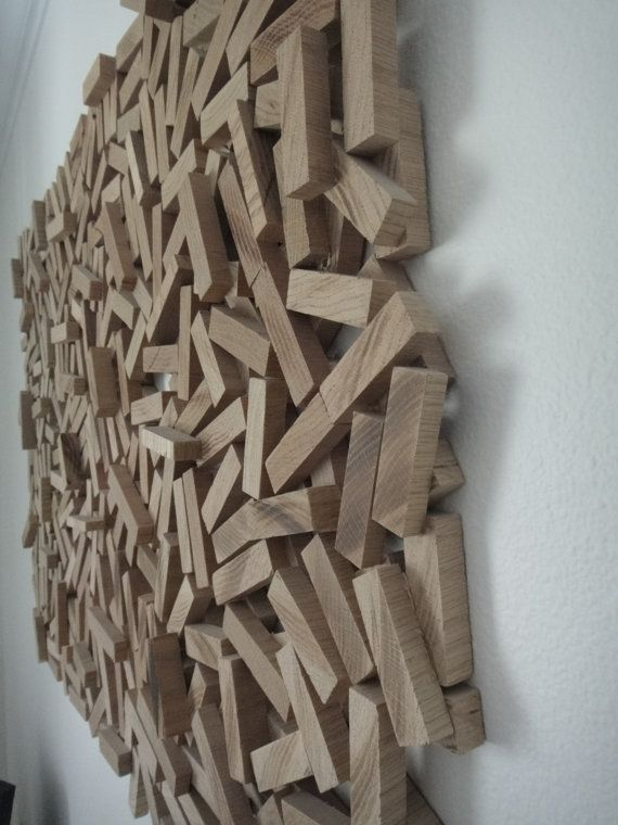 Abstract Wood Sculpture, Wall Hanging, Wood Wall Art, \'Wood strips ...