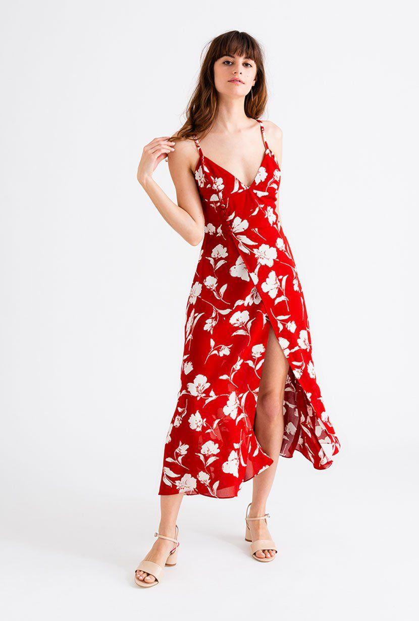 Carly Dress Red Floral Petite Studio Petite Summer Dresses Red Dress Red Dress Maxi [ 1230 x 830 Pixel ]