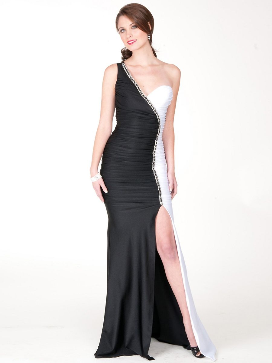 One-Shoulder Black White Sheath Style Satin Slit Evening Gown ...