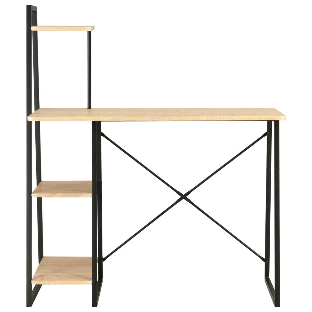 vidaXL Desk with Shelving Unit Black and Oak 102x50x117 cm 20284
