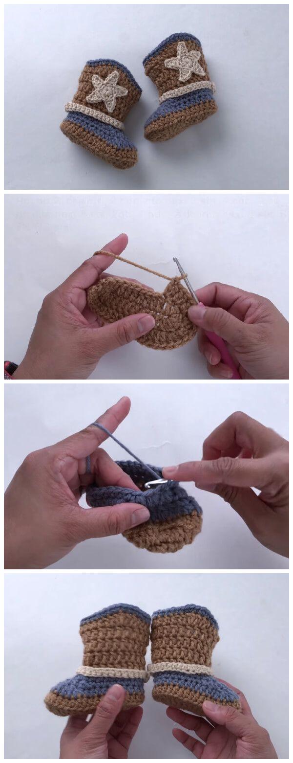 Crochet Cowboy Boot (3-6 months) - Learn to Crochet #crochetbabyboots