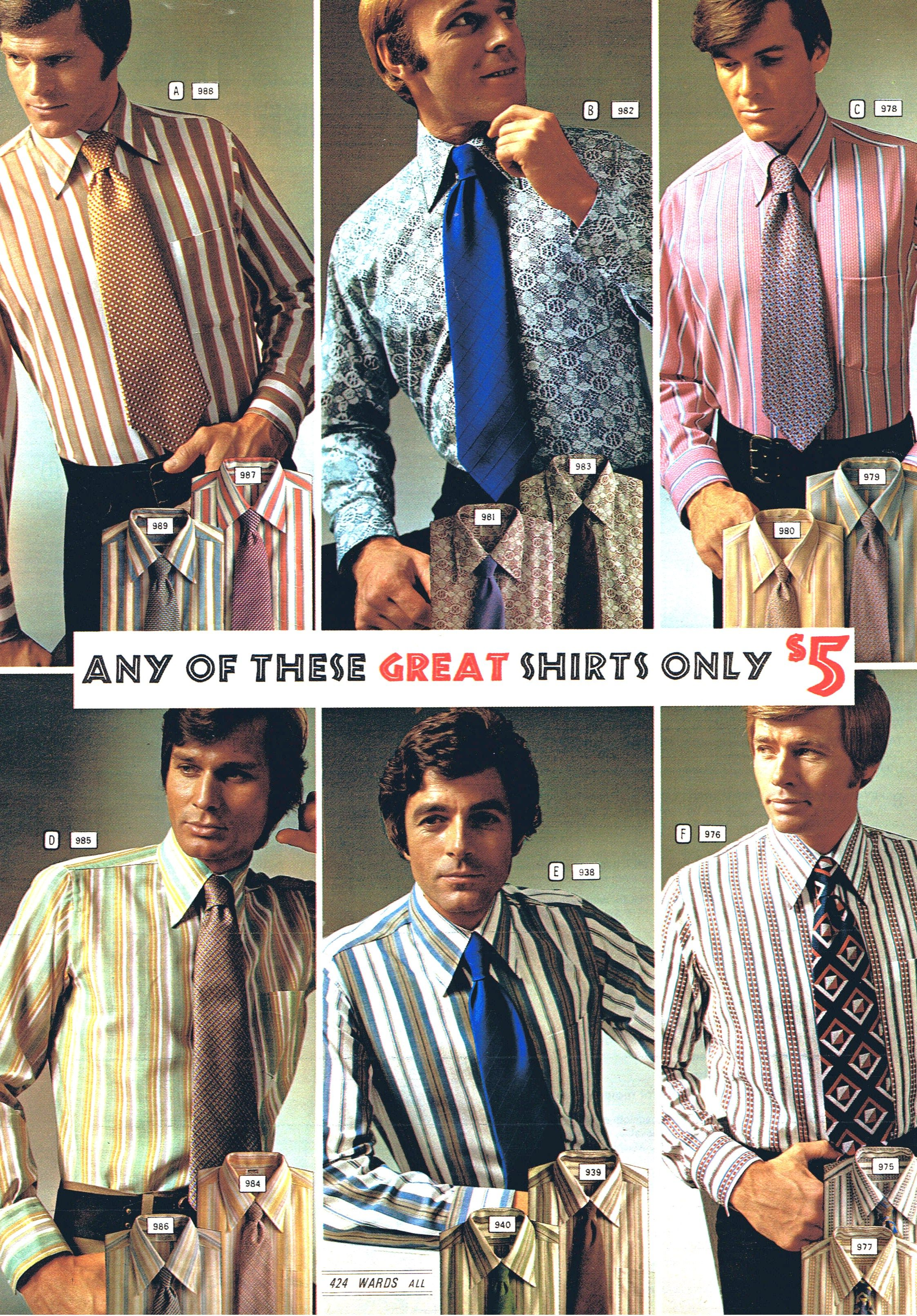 Montgomery Ward Shirt And Tie Selections For 1971 Retro Outfits