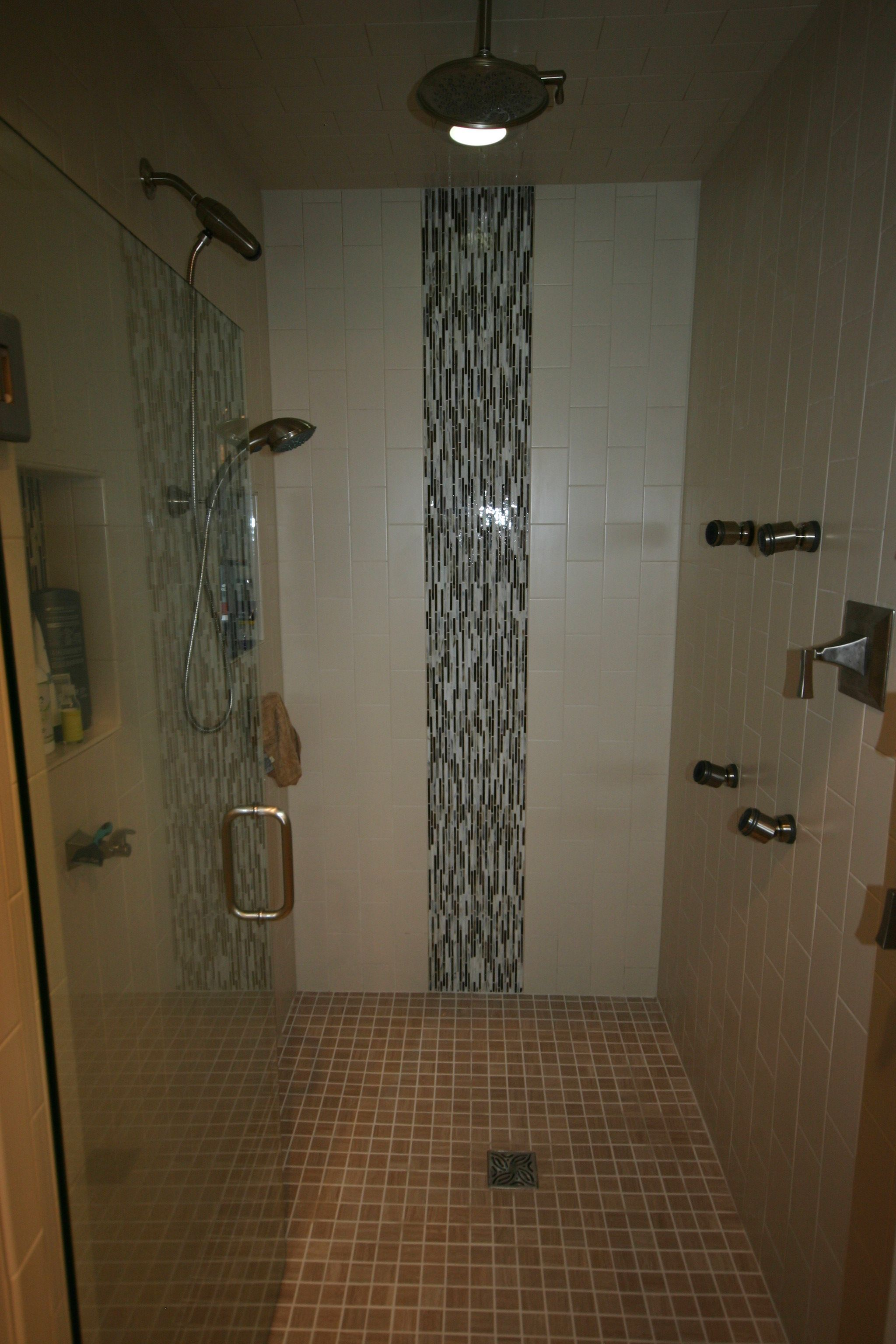 Custom curbless shower with multiple shower heads | Bathrooms ...