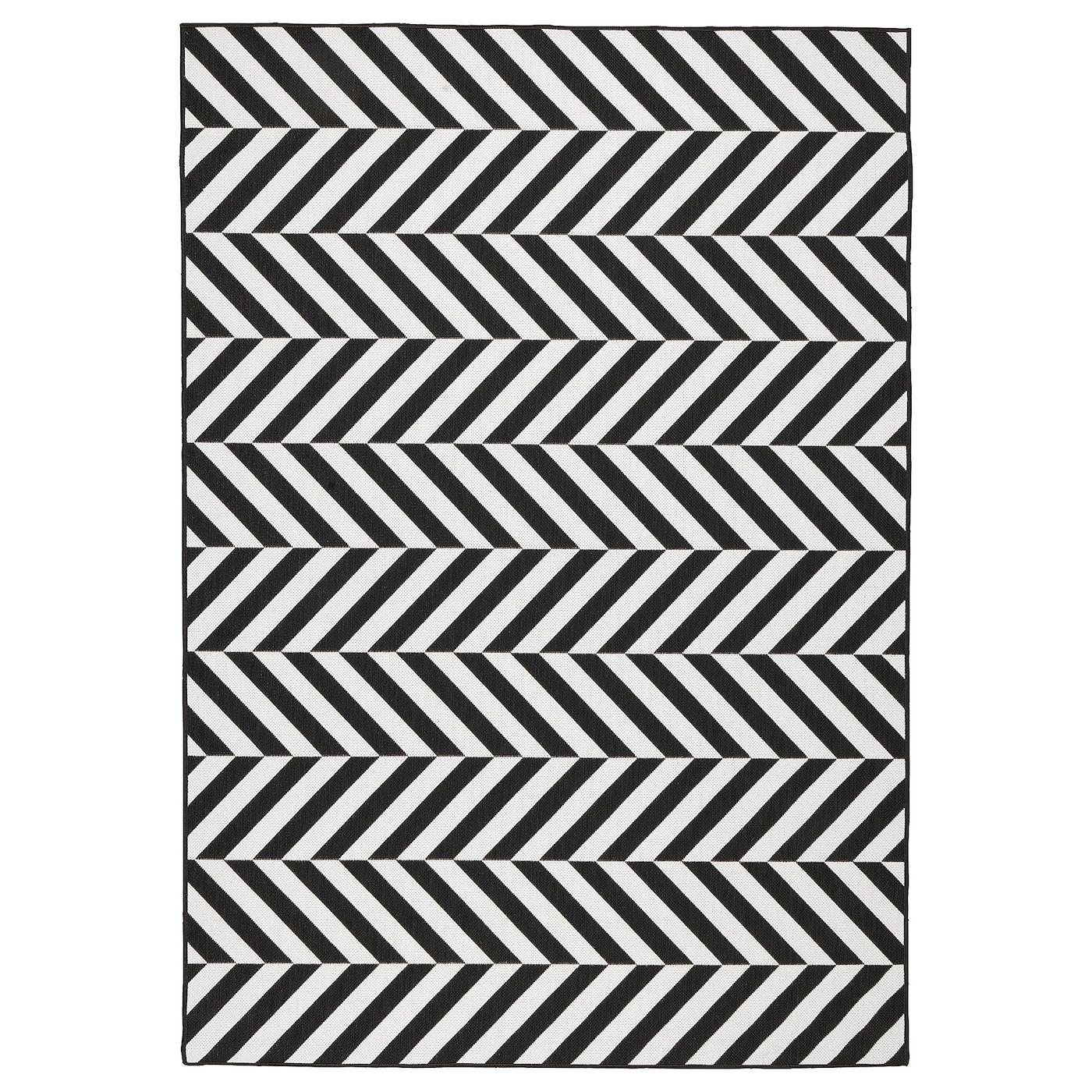 Skarrild Tapis Tisse A Plat Int Exterieur Blanc Noir 160x230 Cm En 2020 Tapis Tisse Plat Tapis Tisse Et Tapis Exterieur