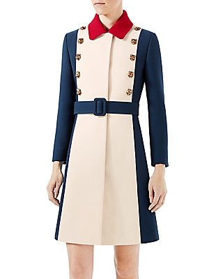 8d01f16313503 Gucci Wool A-Line Coat - Gardenia-