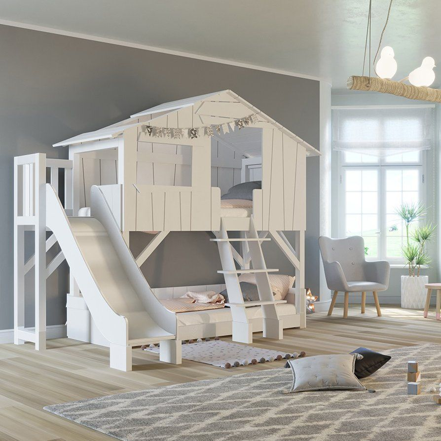 Treehouse loft bed with slide  Treehouse Bunk Bed with Slide  Bed for Jackson  Pinterest