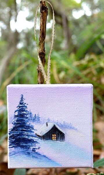 Winter Home Small Canvas Paintings Mini Canvas Art