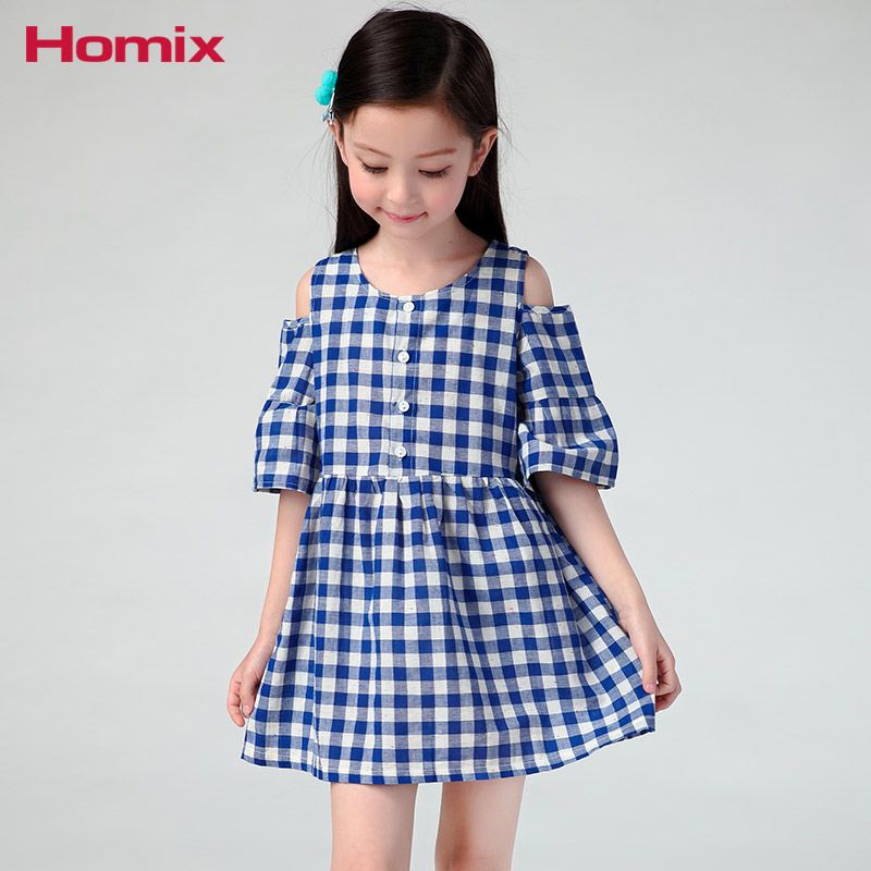 b150e4dd3257e Homix 3-6years Baby Girls Off Shoulder Dresses Summer Cold Shoulder Tops  Children Clothes Kid Clothing