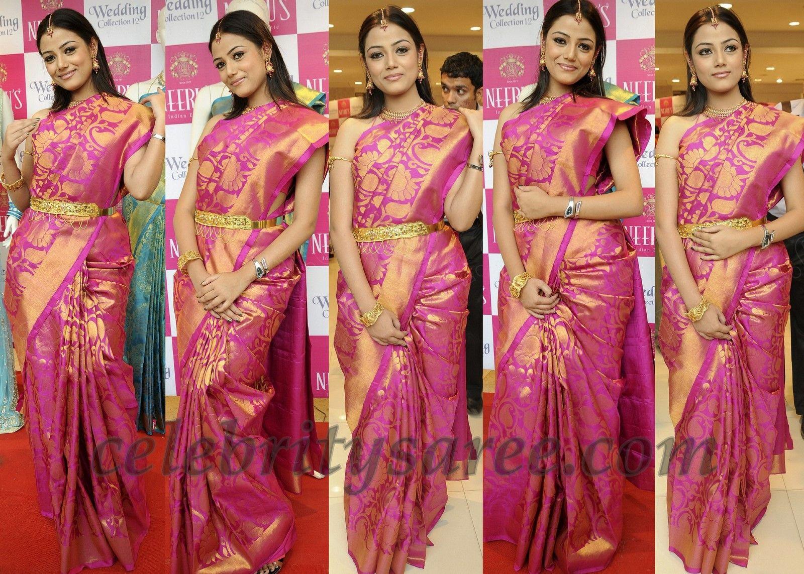 Pink Bridal Silk Saree by Neerus | lOVE | Bridal silk saree