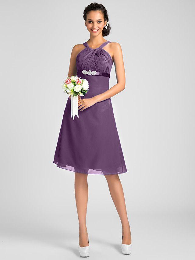 A-Line / Princess Jewel Neck / Straps / Y Neck Knee Length Chiffon ...