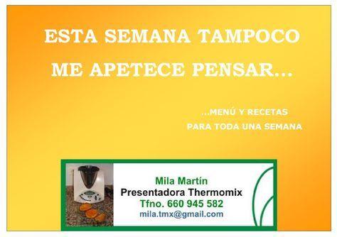 Menu De La Semana Ii Thermomix Recetas Thermomix Menus Para La Semana