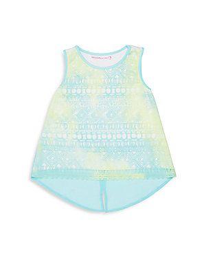 Design History Girl's Roundneck Sleeveless Hi-Lo Top - Aqua - Size