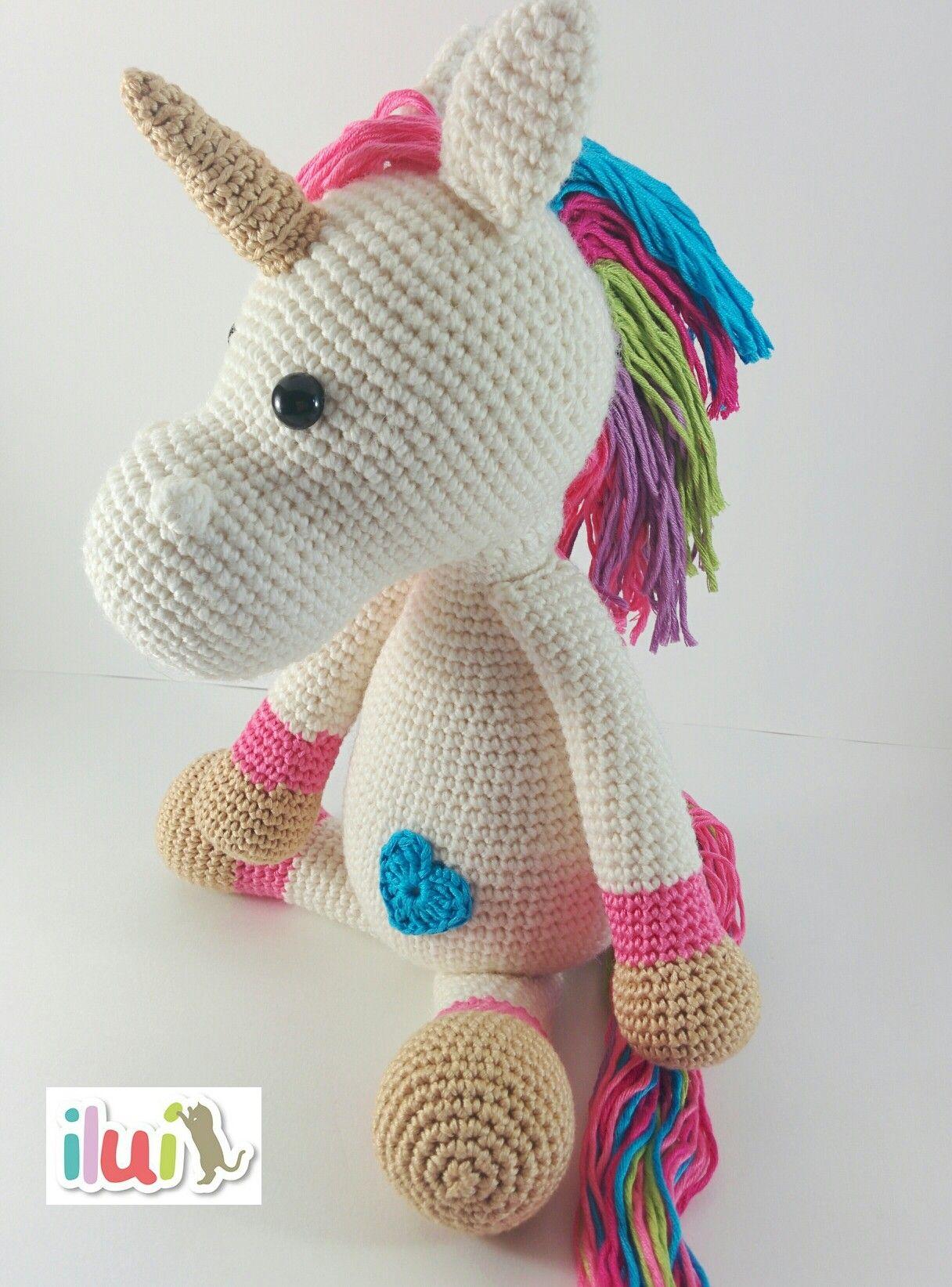 Peluche unicornio tejido con hilo de alpaca y lana e hilo de algodón ...