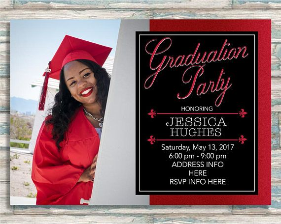 red black graduation party invitation graduation announcement