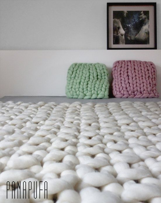 Large chunky knit throw, chunky wool blanket, giant knit blanket ...