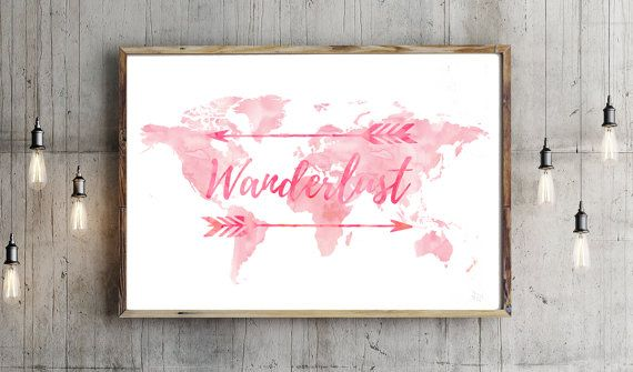 Wanderlust world map pink watercolor print world map poster wanderlust world map pink watercolor print world map poster travel map large map watercolor typography home decor nursery children dimensions gumiabroncs Image collections