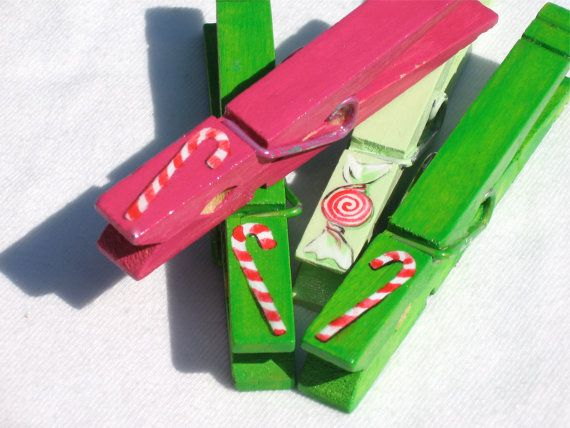 CHRISTMAS CLOTHESPINS candy canes pink green by SugarAndPaint, $10.00