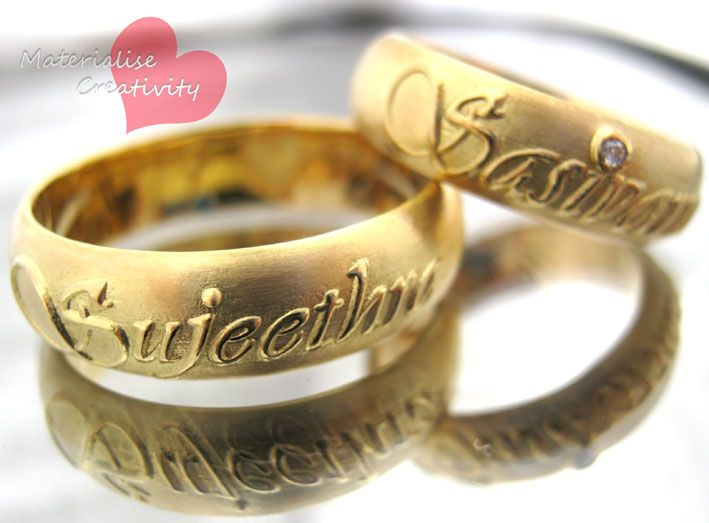 Gold Engagement Rings Materialise Creativity 18k Yellow Gold Name Embossed Engagement Ri Engagement Rings Couple Wedding Ring With Name Wedding Rings Simple