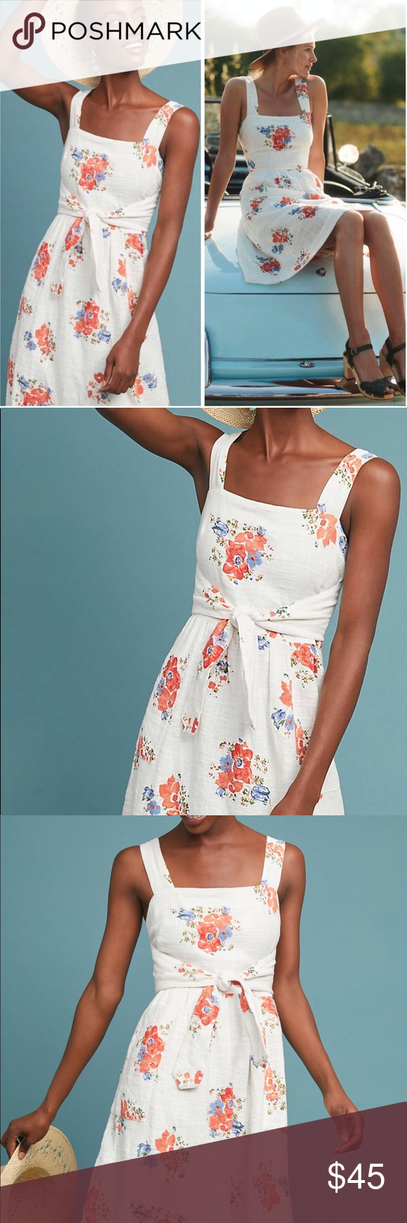 dc89ca6aa69c Anthropologie Ingalls Floral Apron Dress Anthropologie Ingalls Tie-Waist  White Floral A-Line Sleeveless