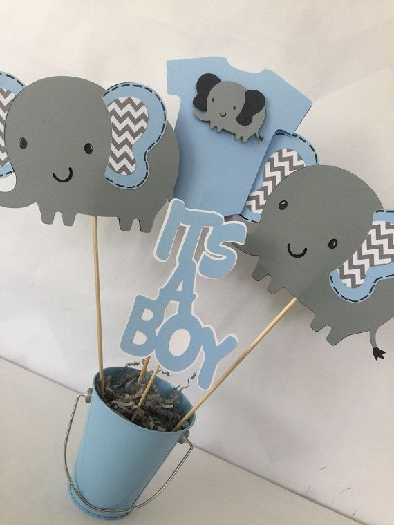 Elephant Baby Shower Centerpiece In Blue And Gray Elephant Theme Baby Centros De Mesa De Elefante Temas De Baby Shower De Niño Centros De Mesa De Baby Shower