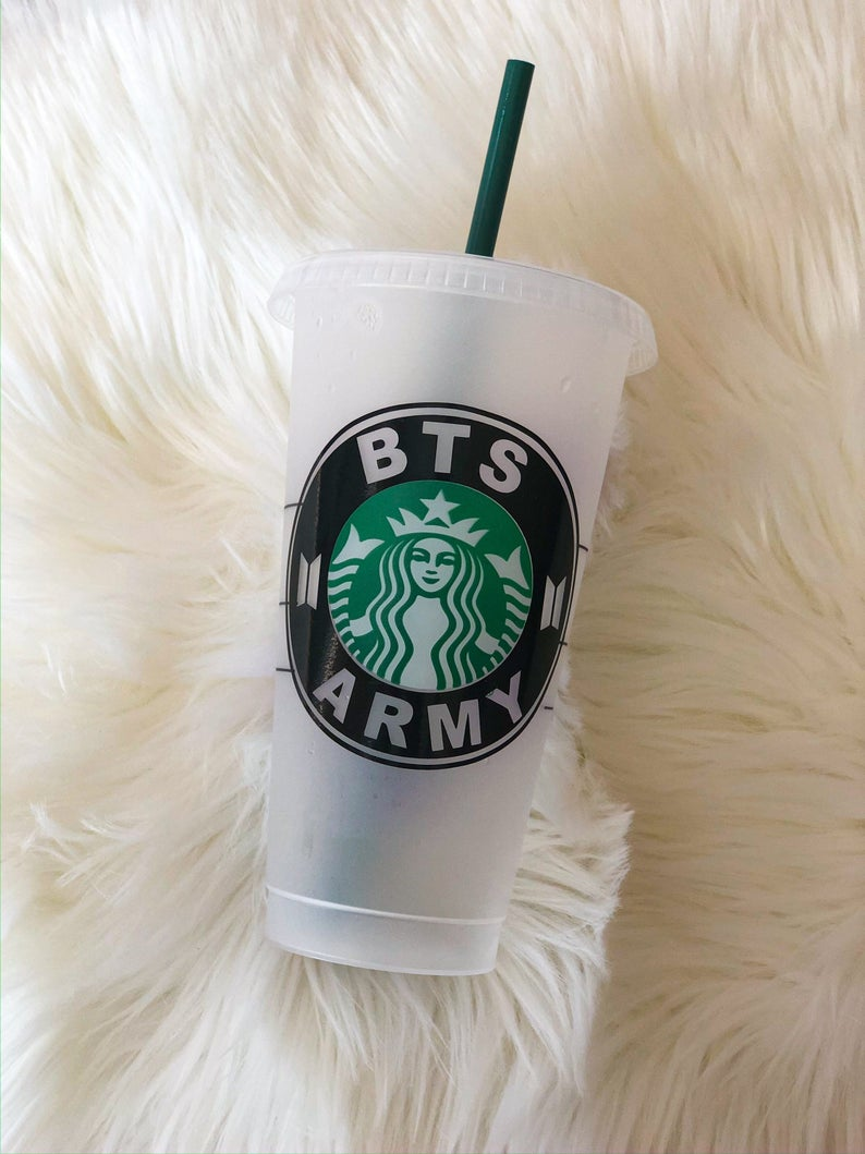 Kpop Bts Inspired Starbucks Venti Cold Cup Tumbler Etsy In 2021 Starbucks Custom Starbucks Cup Personalized Starbucks Cup