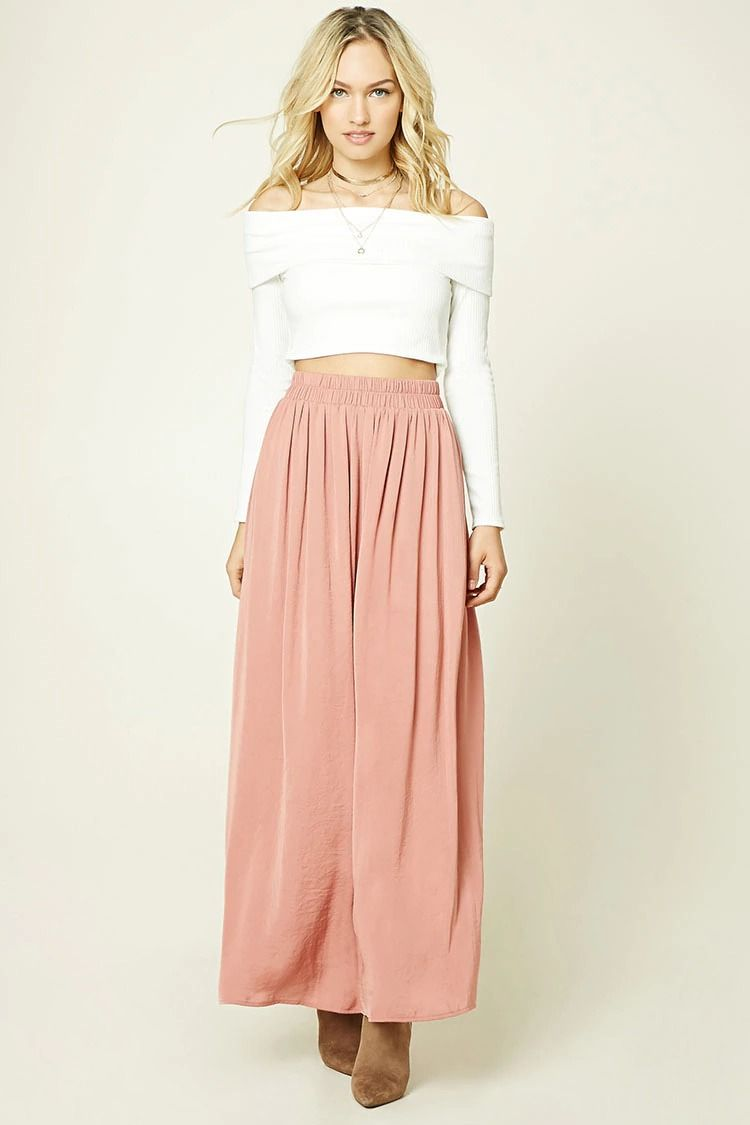 997dd430b52eb Forever 21 Contemporary - A satin sheeny maxi skirt featuring an  elasticized smocked waistband and a flowy silhouette.