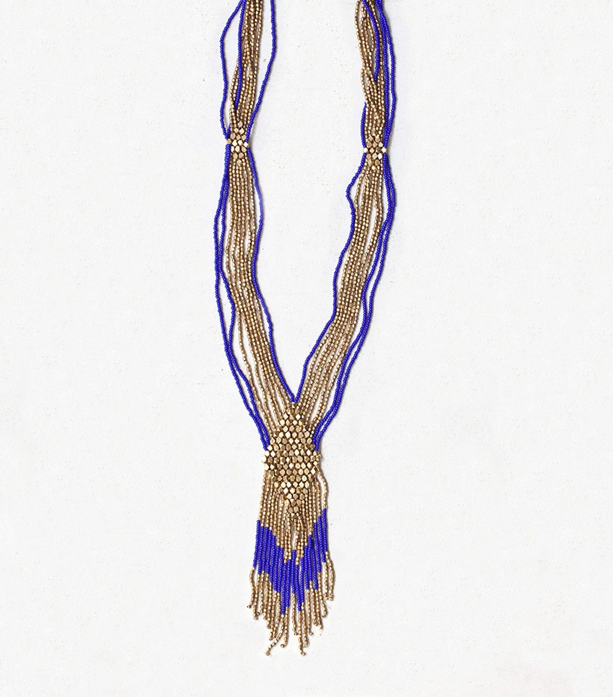 Sautoir ethnique multirangs et à franges perlées