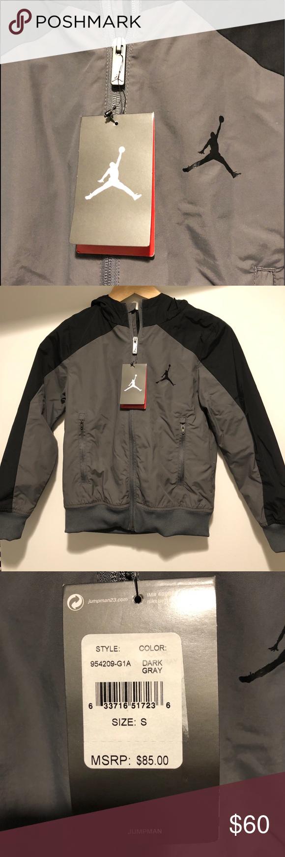 cb657c7e284c NWT Boys Jordan Jumpman Jacket- Size S (8-10yrs)! New W  Tags! Boys Size  Small. Dark Grey + Black Jacket w  Hood zippered Front w  Two Zippered  Pockets.