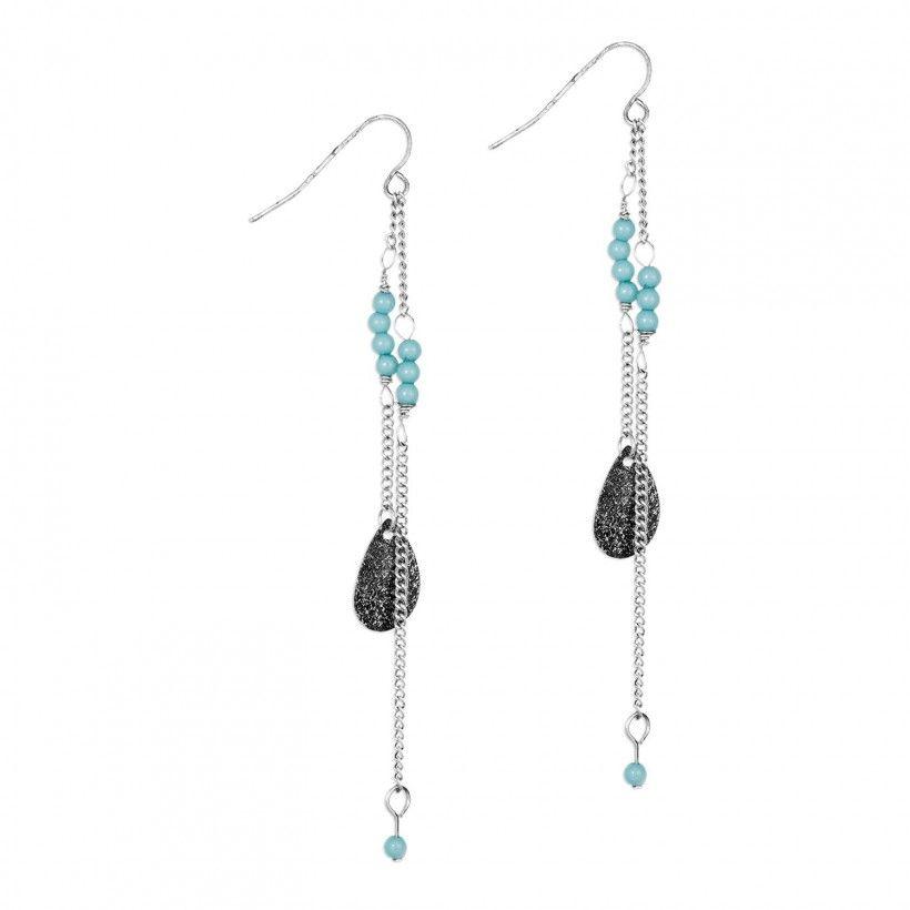 boucles d 39 oreilles pendantes double cha ne et perles balaboost pinterest bijoux. Black Bedroom Furniture Sets. Home Design Ideas