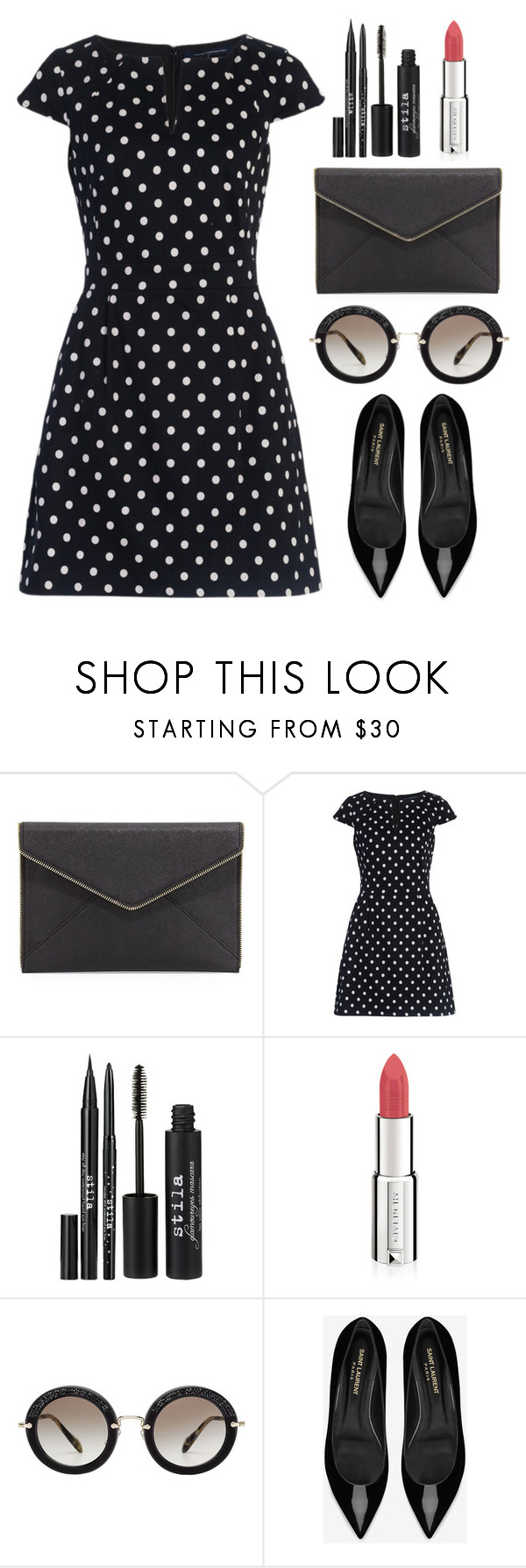 """Pretty in black"" by longarina ❤ liked on Polyvore featuring Rebecca Minkoff, French Connection, Stila, Givenchy, Miu Miu and Yves Saint Laurent"