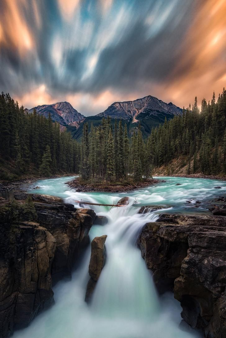 Photo of Where the River Meets – Sunwampta Falls, Jasper (OC)[1335×2000] @rosssvhphoto